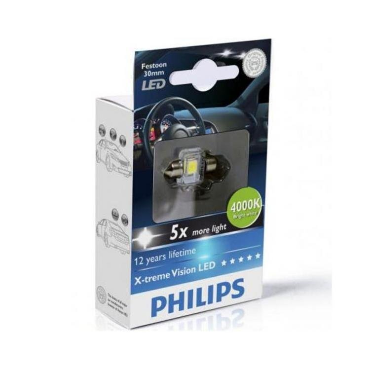 philips x treme vision festoon led c5w 4000k 30mm single. Black Bedroom Furniture Sets. Home Design Ideas