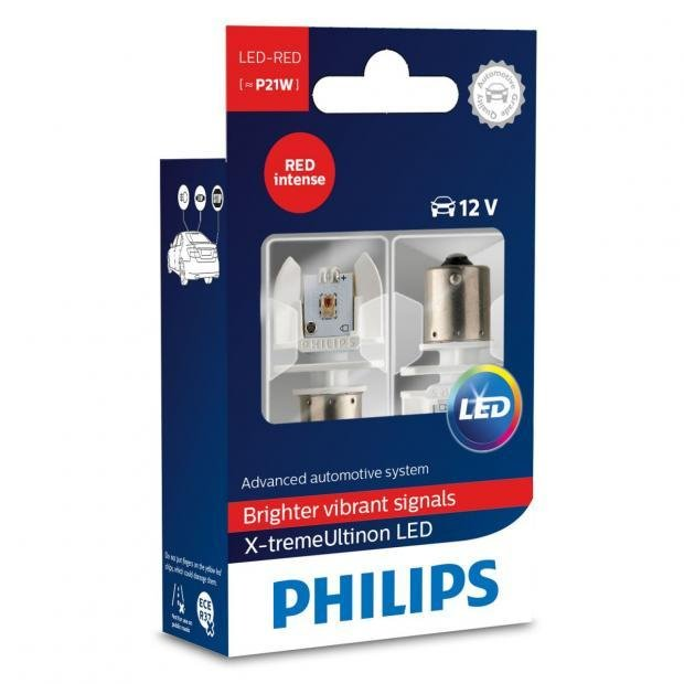 philips x treme ultinon p21w red led twin powerbulbs. Black Bedroom Furniture Sets. Home Design Ideas